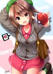1girl :d bag breasts brown_hair buttons collarbone female_protagonist_(pokemon_swsh) green_headwear green_legwear grey_jacket hand_up heart highres holding jacket leg_up looking_at_viewer medium_breasts mokufuu open_mouth pink_shirt poke_ball poke_ball_(generic) pokemon pokemon_(game) pokemon_swsh pokemon_trainer red_eyes shadow shirt shoes short_hair signature smile socks solo spoken_heart