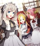 3girls abigail_williams_(fate/grand_order) alcohol alternate_costume apron bangs black_ribbon blonde_hair blue_eyes coconat_summer commentary_request cup drinking_glass eyebrows_visible_through_hair fate/grand_order fate_(series) frankenstein's_monster_(fate) gloves grey_hair hair_over_eyes highres holding holding_plate horn indoors keyhole long_sleeves looking_at_viewer maid maid_apron maid_dress marie_antoinette_(fate/grand_order) multiple_girls parted_bangs pink_hair plate red_ribbon ribbon sleeves_past_fingers sleeves_past_wrists stairs stuffed_animal stuffed_toy teddy_bear twintails white_gloves wine wine_glass