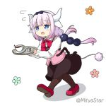 1girl :o blue_eyes brown_legwear brown_skirt chibi coffee coffee_cup cosplay cup disposable_cup dragon_girl dragon_horns full_body gochuumon_wa_usagi_desu_ka? hairband holding holding_tray horns hoto_cocoa hoto_cocoa_(cosplay) kanna_kamui kobayashi-san_chi_no_maidragon lavender_hair long_hair miicha pantyhose purple_footwear rabbit_house_uniform saucer skirt solo tray white_background