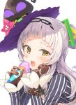 1girl blush circle_cut commentary_request flower food gloves hair_bun hair_ornament hat highres hololive ice_cream long_hair looking_at_viewer murasaki_shion portrait silver_hair simple_background solo tam-u virtual_youtuber white_background witch_hat yellow_eyes