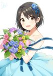 1girl :d aqua_dress bangs bare_arms bare_shoulders blue_flower blush bouquet character_request collarbone dated dot_nose dress earrings eyebrows_visible_through_hair eyes_visible_through_hair flower hair_flower hair_ornament holding holding_bouquet idolmaster idolmaster_cinderella_girls jewelry looking_at_viewer open_mouth pink_flower purple_flower shiny shiny_hair short_hair signature simple_background smile solo strapless strapless_dress tarachine tears white_background yellow_flower