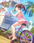 1girl ass back bare_arms bare_legs bare_shoulders beach bicycle blue_sky bracelet breasts brown_hair cart clouds cloudy_sky commentary_request day earrings eating food ground_vehicle hair_ribbon highres holding holding_food ice_cream idolmaster idolmaster_shiny_colors jewelry joey_koguma lens_flare long_hair looking_at_viewer looking_back medium_breasts ocean one-piece_swimsuit open_mouth outdoors palm_tree pink_ribbon pink_swimsuit ponytail red_eyes ribbon sidelocks sign sky slippers solo sonoda_chiyoko striped sunlight swimsuit thighs tree