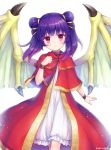 1girl artist_name cannan closed_mouth dragon_wings dress fire_emblem fire_emblem:_the_sacred_stones highres mamkute multi-tied_hair myrrh purple_hair red_eyes simple_background solo twintails white_background wings