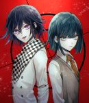 2boys artist_name bangs black_hair character_request checkered checkered_scarf commentary_request danganronpa eyebrows_visible_through_hair green_eyes hair_between_eyes jacket looking_at_viewer male_focus messy_hair multiple_boys necktie new_danganronpa_v3 orange_neckwear ouma_kokichi red_background sakuyu scarf school_uniform shirt short_hair upper_body upper_teeth white_jacket white_shirt