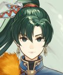 1girl absurdres black_eyes closed_mouth dakkalot earrings fire_emblem fire_emblem:_the_blazing_blade floating_hair green_hair hair_between_eyes hair_ornament high_ponytail highres jewelry long_hair looking_at_viewer lyn_(fire_emblem) portrait smile solo