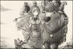 animal animal_on_head bell braid bull cat coyubi diera_(sennen_sensou_aigis) dog dress greyscale long_hair long_sleeves monochrome on_head one_eye_closed outdoors sennen_sensou_aigis standing twin_braids very_long_hair younger