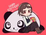 1girl animal black_legwear black_skirt black_vest boots braid brown_footwear brown_hair closed_mouth crown_braid do_m_kaeru full_body gift happy_birthday holding holding_gift long_sleeves niijima_makoto panda pantyhose persona persona_5 plaid plaid_skirt pleated_skirt red_background red_eyes school_uniform short_hair shuujin_academy_uniform simple_background sitting skirt smile twitter_username vest