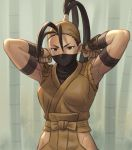 1girl antenna_hair arm_wrap arms_up bamboo bamboo_forest bandana breasts brown_eyes brown_hair commentary_request face_mask forest high_ponytail hip_vent ibuki_(street_fighter) japanese_clothes long_hair looking_at_viewer mask nature ninja noppo_(tarstation) ponytail small_breasts solo standing street_fighter street_fighter_iii_(series) toned tying upper_body v-shaped_eyebrows