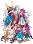 animal_ears animal_print anita_(vampire) bat_print bat_wings big_hair blonde_hair blue_eyes blue_hair blue_skin bulleta cat cat_ears cat_tail claws demon_girl felicia green_hair highres hime_cut insect_girl jiangshi lei_lei lilith_aensland long_hair morrigan_aensland nishimura_kinu official_art purple_hair q-bee sample short_hair succubus tail tea tea_set vampire_(game) white_background wings yellow_eyes