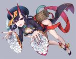 1girl bangs beret black_dress blush breasts chinese_clothes cleavage_cutout commentary_request dress eyeliner fate/grand_order fate_(series) full_body grey_background hair_rings hat heroic_spirit_chaldea_park_outfit horns jiangshi kaguyuzu leaning_forward legs long_sleeves looking_at_viewer makeup ofuda oni oni_horns open_mouth outstretched_arms peacock_feathers pelvic_curtain purple_hair short_eyebrows short_hair shuten_douji_(fate/grand_order) side_slit small_breasts smile solo thighs violet_eyes zombie_pose