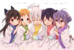 5girls :d ^_^ ahoge black_bow blonde_hair blush bow brown_hair chiya_(urara_meirochou) clenched_hand closed_eyes closed_mouth commentary_request copyright_name eyebrows_visible_through_hair girl_sandwich green_eyes hair_between_eyes hair_bow hair_bun hand_on_another's_shoulder high_ponytail highres holding_hands japanese_clothes kimono long_hair long_sleeves mole mole_under_eye multiple_girls natsume_nono nijou_omi obi open_mouth ponytail purple_hair romaji_text sandwiched sash smile tatsumi_kon uchino_maiko urara_meirochou violet_eyes white_background white_hair yukimi_koume