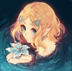 1girl aqua_eyes artist_name bangs blonde_hair blue_flower braid closed_mouth commentary crown_braid english_commentary flower from_above hair_ornament hairclip highres holding holding_flower kamochiru looking_at_viewer looking_up parted_bangs partially_submerged pointy_ears princess_zelda ripples short_hair sketch smile solo the_legend_of_zelda the_legend_of_zelda:_breath_of_the_wild the_legend_of_zelda:_breath_of_the_wild_2 thick_eyebrows upper_body water
