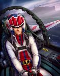 1boy belt black_hair blue_eyes buttons canopy choujikuu_yousai_macross clouds cockpit commentary dutch_angle english_commentary flight_stick flying fog franciscoetchart gloves helmet highres ichijou_hikaru machinery macross mecha military military_uniform pilot pilot_chair pilot_suit piloting robotech roundel runway science_fiction sdf-1 serious space_craft tube u.n._spacy uniform variable_fighter vf-1 vf-1j