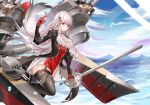1girl absurdres azur_lane bangs black_footwear black_legwear boots breasts commentary cup6542 day detached_collar dunkerque_(azur_lane) eyebrows_visible_through_hair gloves highres holding holding_sword holding_weapon long_sleeves looking_at_viewer ocean outdoors red_eyes red_gloves rigging sidelocks solo sword thigh-highs thigh_boots walking walking_on_liquid water water_drop weapon white_hair