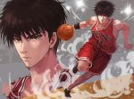 1boy ana_bi armband ball basketball basketball_uniform brown_eyes brown_hair closed_mouth clothes_writing commentary_request male_focus multiple_views open_mouth playing_sports red_shorts rukawa_kaede serious shoes shorts slam_dunk sneakers sport sportswear sweat tank_top toned toned_male