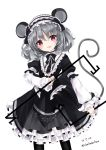 1girl :d alternate_costume animal_ears bangs black_dress black_hairband black_legwear blush dated dowsing_rod dress eyebrows_visible_through_hair frilled_dress frilled_hairband frills gothic_lolita grey_hair hair_between_eyes hairband head_tilt lolita_fashion lolita_hairband long_sleeves looking_at_viewer mouse_ears mouse_girl mouse_tail nanase_nao nazrin open_mouth pantyhose puffy_long_sleeves puffy_short_sleeves puffy_sleeves red_eyes short_over_long_sleeves short_sleeves simple_background smile solo tail touhou twitter_username white_background