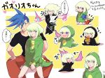 angry blue_hair blush breathing_fire c_han25 chibi cosplay cravat dinosaur_costume fang fire food galo_thymos green_hair highres jacket kigurumi lio_fotia male_focus pants pizza promare shirt sitting sitting_on_lap sitting_on_person spiky_hair t-shirt torn_clothes torn_sleeves violet_eyes