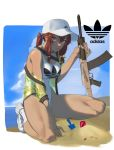 1girl adidas alternate_costume baseball_cap beach blue_sky breasts girls_frontline hat highres hong_doo_jv logo medium_breasts one-piece_swimsuit ponytail redhead saiga-12 saiga-12_(girls_frontline) sand_castle sand_sculpture shoes sky sneakers socks solo swimsuit twintails yellow_eyes