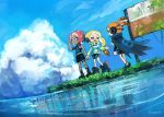 blue_sky boots cape clouds different_reflection headphones holding_hands inkling midriff ocean octoling reflection shorts sign sky splatoon_(series) splatoon_2 squidbeak_splatoon tentacle_hair tona_bnkz