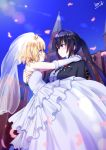 2girls arm_around_neck black_hair blonde_hair blue_eyes blue_sky blush bridal_veil carrying cherry_blossoms closed_mouth diadem dress elbow_gloves eye_contact floating_hair gloves gochuumon_wa_usagi_desu_ka? highres hinata_tino kirima_sharo layered_dress long_dress long_hair looking_at_another multiple_girls open_mouth outdoors princess_carry ribbon shiny shiny_hair short_hair signature sky sleeveless sleeveless_dress striped striped_dress sunlight tedeza_rize transparent veil very_long_hair violet_eyes wedding wedding_dress white_dress white_gloves white_ribbon