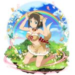 1girl :t animal_ear_fluff animal_ears barefoot bell bell_collar blue_eyes brown_hair brown_hairband brown_skirt bug butterfly closed_mouth collar day fake_animal_ears faux_figurine full_body fur-trimmed_skirt hairband highres insect kneeling midriff miniskirt navel official_art outdoors rainbow red_ribbon ribbon ronye_arabel short_hair skirt solo stomach sword_art_online tail transparent_background wolf_ears wolf_tail