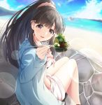 :d akisaka_yamoka alternate_costume alternate_hairstyle beach bikini black_eyes black_hair blue_sweater commentary_request eyebrows_visible_through_hair feeding food hair_ornament hair_scrunchie holding holding_spoon ice_cream idolmaster idolmaster_cinderella_girls kobayakawa_sae long_hair looking_at_viewer open_mouth pink_bikini pink_scrunchie ponytail scrunchie shorts sitting smile spoon sweater swimsuit