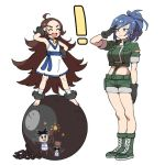 ! 2girls ball ball_and_chain bangs barefoot blue_hair blush boots brown_hair chain chang_koehan crop_top earrings forehead full_body genderswap genderswap_(mtf) gloves height_difference jewelry leona_heidern long_hair looking_at_another midriff multiple_girls nhadraw open_mouth parted_bangs ponytail salute short_hair shorts smile the_king_of_fighters