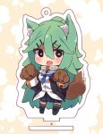 1girl :d animal_ears black_legwear blue_eyes blush chibi collar commentary_request green_hair hair_ornament hair_ribbon hairclip heart heart-shaped_pupils kantai_collection kemonomimi_mode long_hair looking_at_viewer open_mouth paw_pose pleated_skirt ribbon school_uniform serafuku skirt smile solo suzuki_toto symbol-shaped_pupils tail thigh-highs wolf_ears wolf_tail yamakaze_(kantai_collection) zettai_ryouiki