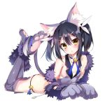 1girl animal_ears ass bangs bare_shoulders bell black_hair black_panties blue_ribbon blush breasts cat_ears cat_tail detached_collar elbow_gloves fate/kaleid_liner_prisma_illya fate_(series) feathers feet_up fur_trim gloves grey_gloves grey_legwear grey_vest hair_between_eyes hair_feathers hair_ornament hairclip highres jingle_bell long_hair looking_at_viewer lying miyu_edelfelt on_stomach open_mouth panties paw_gloves paw_shoes paws ribbon shoes simple_background small_breasts solo tail thigh-highs thighs twintails underwear vest white_background yellow_eyes youta