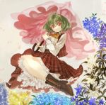 1girl ascot boots cross-laced_footwear flower green_hair kazami_yuuka konabetate lace-up_boots parasol plaid plaid_skirt plaid_vest red_eyes skirt touhou umbrella underskirt vest