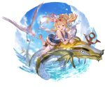 1girl :d alpha_transparency bangs bird blonde_hair blue_flower blue_sky blue_swimsuit blush cagliostro_(granblue_fantasy) clouds collarbone eyebrows_visible_through_hair flower full_body granblue_fantasy hair_flower hair_ornament heart heart-shaped_eyewear lens_flare long_hair looking_at_viewer minaba_hideo ocean official_art one-piece_swimsuit open_mouth ponytail revision seagull sky smile solo sun sunglasses swimsuit thigh_strap transparent_background violet_eyes water wet white_flower
