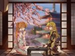 2girls alternate_costume blush bowl brown_hair building cherry_blossoms closed_eyes closed_mouth couple cup drinking fate_testarossa floor food grass hand_on_own_knee hand_on_table highres japanese_clothes kimono kneeling long_hair lyrical_nanoha mahou_shoujo_lyrical_nanoha mahou_shoujo_lyrical_nanoha_strikers multiple_girls petals ponytail shadow smoke table takamachi_nanoha tea tree xiao_lu yuri