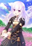 1girl :d epaulettes fire_emblem fire_emblem:_three_houses highres long_hair long_sleeves looking_at_viewer lysithea_von_cordelia nichika_(nitikapo) open_mouth smile solo uniform upper_body violet_eyes white_hair