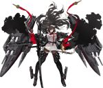 1girl azur_lane bangs black_coat black_footwear black_hair black_legwear boots bow breasts brown_eyes cannon dark_takao_(azur_lane) dual_wielding expressionless eyebrows_visible_through_hair floating_hair gloves hair_bow hair_over_one_eye high_collar highres holding holding_sword holding_weapon jacket katana kishiyo large_breasts long_hair looking_at_viewer military military_uniform miniskirt official_art pantyhose parted_lips pleated_skirt ponytail ribbon rigging skirt solo standing sword thigh-highs thigh_boots transparent_background turret uniform unzipped very_long_hair weapon white_bow white_jacket white_skirt wind