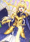 1girl alice_schuberg armor armored_dress bangs blonde_hair blue_dress blue_eyes blue_gloves braid dress french_braid gauntlets gloves gold_armor hair_between_eyes hairband highres long_braid long_hair looking_at_viewer mottsun_(i_40y) open_mouth single_braid solo sparkle sword sword_art_online very_long_hair weapon white_hairband