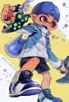 1boy backwards_hat baseball_cap blue_hair blue_tongue blush dated fangs happy_birthday hat highres jacket male_focus open_mouth red_eyes shoes shorts solo splatoon_(series) utsunomiya_hetaru