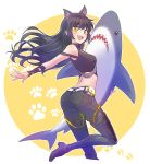 1girl absurdres animal_ears arm_ribbon bare_shoulders belt belt_pouch black_hair blake_belladonna boots cat_ears extra_ears fang fangs highres iesupa long_hair midriff pouch ribbon rwby shark shirt sleeveless sleeveless_shirt solo stuffed_animal stuffed_shark stuffed_toy thigh-highs thigh_boots toy yellow_eyes