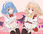 2girls ;d alternate_costume apron bangs black_legwear blonde_hair blue_hair blush bow bowtie center_frills commentary_request cowboy_shot crystal enmaided eyebrows_visible_through_hair fang flandre_scarlet frilled_apron frills hair_between_eyes hand_up looking_at_viewer maid maid_apron maid_headdress miniskirt multiple_girls one_eye_closed one_side_up open_mouth own_hands_together petticoat pink_background pink_skirt pointy_ears puffy_short_sleeves puffy_sleeves red_bow red_eyes red_neckwear red_skirt remilia_scarlet shirt short_hair short_sleeves siblings simple_background sisters sitting skin_fang skirt smile thigh-highs thighs tosakaoil touhou v v_arms waist_apron white_apron white_shirt wrist_cuffs yellow_bow yellow_neckwear