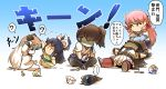 >_< 5girls ? ^_^ ahoge akashi_(kantai_collection) black_hair bow brain_freeze brown_hair closed_eyes dress gradient gradient_background hair_bow hair_ribbon hisahiko horns i-class_destroyer indian_style kaga_(kantai_collection) kantai_collection katsuragi_(kantai_collection) long_hair lying mittens multiple_girls nagato_(kantai_collection) northern_little_sister pink_hair pleated_skirt ribbon school_uniform serafuku shinkaisei-kan simple_background sitting skirt spoken_question_mark spoon translation_request tress_ribbon white_dress white_hair white_skin