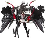 1girl azur_lane bangs black_coat black_footwear black_hair black_legwear boots bow breasts brown_eyes cannon dark_takao_(azur_lane) dual_wielding expressionless eyebrows_visible_through_hair floating_hair gloves hair_bow hair_over_one_eye high_collar highres holding holding_sword holding_weapon jacket katana kishiyo large_breasts long_hair looking_at_viewer military military_uniform miniskirt pantyhose parted_lips pleated_skirt ponytail ribbon rigging skirt solo standing sword thigh-highs thigh_boots turret uniform unzipped very_long_hair weapon white_bow white_jacket white_skirt wind