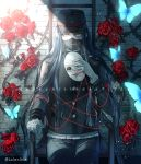 1boy bandaged_hands bandages black_hair bug butterfly chair commentary_request covered_mouth danganronpa dated flower gakuran happy_birthday hat holding holding_mask insect jacket long_hair looking_at_viewer male_focus mask mask_removed new_danganronpa_v3 peaked_cap red_eyes red_flower red_rose rose school_uniform shinguuji_korekiyo sitting solo string thorns white_mask yellow_eyes z-epto_(chat-noir86)