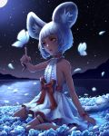 1girl absurdres animal_ears arm_up blade_&_soul bug butterfly choker dark_skin dress flower full_body highres huge_filesize insect lake lyn_(blade_&_soul) moon night night_sky outdoors petals red_eyes rose short_hair silver_hair sitting sky sleeveless sleeveless_dress solo star_(sky) starry_sky tail tiger_ears tiger_tail white_dress wind