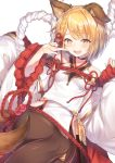 1girl :d animal_ears bare_shoulders blonde_hair braid breasts brown_legwear commentary_request dog_ears dog_tail erune granblue_fantasy hair_ornament index_finger_raised japanese_clothes looking_at_viewer medium_breasts open_mouth pantyhose rope shimenawa short_hair simple_background smile solo tail topia vajra_(granblue_fantasy) white_background wide_sleeves yellow_eyes