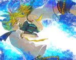 1boy 1girl arm_warmers belt blonde_hair bow brother_and_sister cheek-to-cheek closed_eyes floating from_side hair_bow hair_ornament hair_ribbon headphones holding_hands interlocked_fingers kagamine_len kagamine_rin kamu_(camui) neckerchief necktie number number_tattoo ponytail ribbon sailor_collar shirt short_shorts shorts shoulder_tattoo siblings sleeveless sleeveless_shirt tattoo twins vocaloid w_arms white_shirt