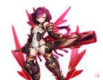 1girl alice_gear_aegis armor armored_boots bangs bare_shoulders black_footwear boots breasts brown_legwear covered_navel detached_collar detached_sleeves doyouwantto eyebrows_visible_through_hair floating_hair gauntlets grin hair_between_eyes half-closed_eyes heterochromia holding holding_sword holding_weapon hood hood_up horns huge_weapon legs_apart leotard long_hair looking_at_viewer multicolored_hair original pink_hair purple_hair red_eyes shiny shiny_hair shiny_skin shoulder_armor signature simple_background small_breasts smile solo standing streaked_hair sword thigh-highs weapon white_background white_leotard wind yellow_eyes
