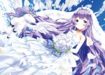 1girl absurdres ahoge azur_lane bare_shoulders blue_sky bouquet bridal_veil clouds cloudy_sky collarbone commentary_request dress elbow_gloves flower gloves highres huge_filesize long_hair looking_at_viewer off-shoulder_dress off_shoulder pegasus petals purple_hair rose sky smile solo unicorn unicorn_(azur_lane) veil violet_eyes wakamoto_riwo wedding_dress white_dress white_flower white_gloves white_rose wind