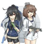 2girls black_hair black_swimsuit blue_jacket blue_ribbon blue_swimsuit brown_eyes brown_hair competition_swimsuit cowboy_shot drawstring firearm_request gun hair_ribbon handgun hatsushimo_(kantai_collection) headgear headset highres hood hooded_jacket hoodie jacket kantai_collection long_hair looking_at_viewer low-tied_long_hair machine_gun multiple_girls name_tag one-piece_swimsuit open_clothes open_jacket pistol ponytail red_eyes ribbon school_swimsuit short_hair speaking_tube_headset swimsuit umino_ht water_gun weapon white_jacket yukikaze_(kantai_collection)