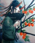 1boy alternate_costume black_hair chinese_lantern_(plant) commentary_request covering_mouth danganronpa dated eyeliner eyeshadow fan folding_fan from_side green_kimono happy_birthday holding holding_fan japanese_clothes kimono leaf long_hair long_sleeves looking_at_viewer makeup male_focus new_danganronpa_v3 oni_horns pale_skin red_horns sakuyu shinguuji_korekiyo solo standing twitter_username very_long_hair wide_sleeves yellow_eyes
