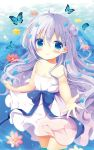 1girl ahoge animal aono_ribbon bangs bare_arms bare_shoulders blue_bow blue_eyes blue_hair blurry blurry_background blush bow bug butterfly closed_mouth commentary_request depth_of_field double_bun dress eyebrows_visible_through_hair flower flower_on_liquid gochuumon_wa_usagi_desu_ka? hair_between_eyes hair_flower hair_ornament insect kafuu_chino long_hair pink_flower red_flower skirt_hold sleeveless sleeveless_dress smile solo strap_slip sundress two_side_up very_long_hair wading water white_dress yellow_flower