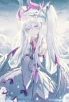 +_+ 1girl absurdres bare_shoulders bird blue_eyes blush breasts choker closed_mouth detached_sleeves dragon_girl dragon_horns dragon_wings dress expressionless highres horns light_particles long_hair okazu_(eightstudio) original outdoors small_breasts solo twintails very_long_hair white_dress white_hair wings